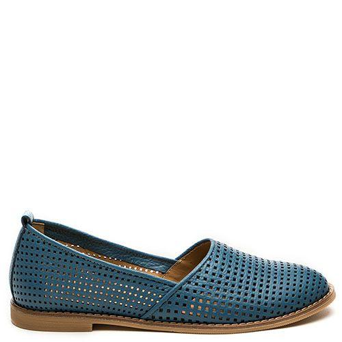 Кожаные эспадрильи с перфорацией Modus Vivendi голубого цвета, фото