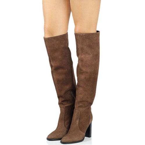 Высокие замшевые сапоги Bianca Di коричневого цвета на толстом каблуке, фото