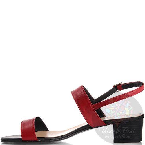 Босоножки Nuovi Artigiani красного цвета на устойчивом каблуке, фото