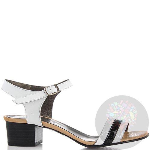 Кожаные босоножки Nuovi Artigiani белые с черной полоской на носочке, фото