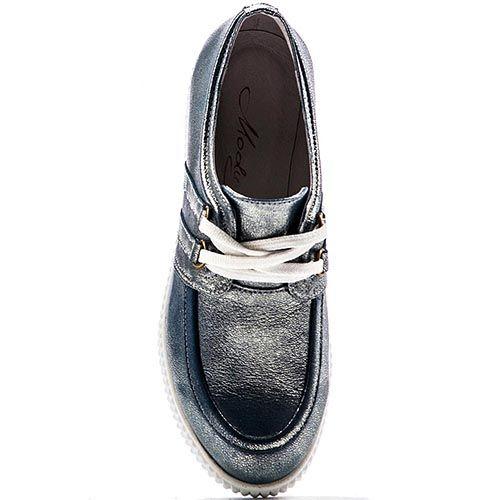 Кожаные слипоны Modus Vivendi серо-синего цвета с перламутром, фото