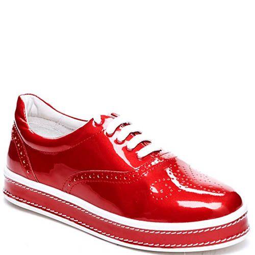 Броги красного цвета из лаковой кожи Modus Vivendi на шнуровке и толстой подошве, фото