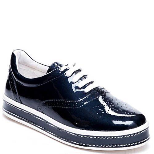 Туфли из лаковой кожи синего цвета Modus Vivendi на шнуровке и толстой подошве, фото
