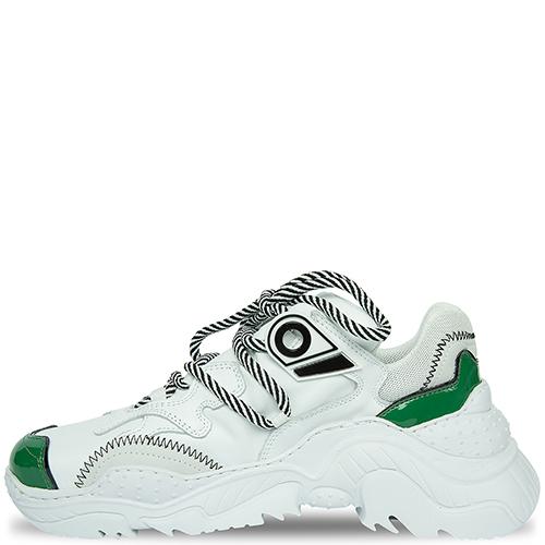 Белые кроссовки N21 с зелеными вставками, фото