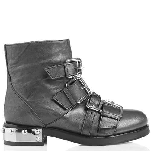 Темно-серые ботинки Giancarlo Paoli с декором-пряжками, фото