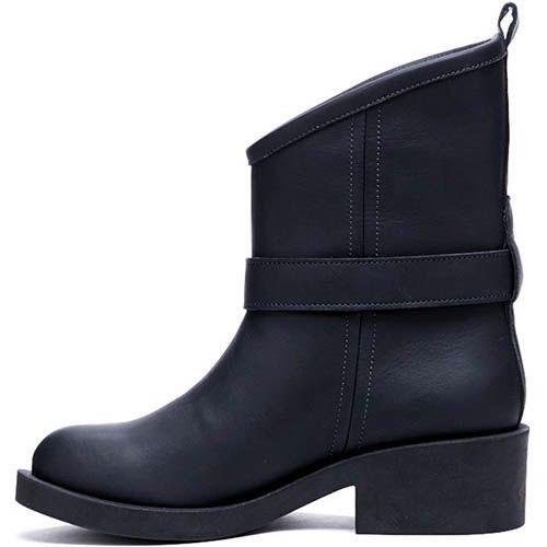 Ботинки из кожи черного цвета Modus Vivendi с декоративным ремешком, фото