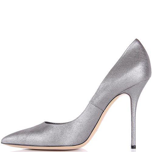 Туфли-лодочки Casadei серебристые с блеском, фото
