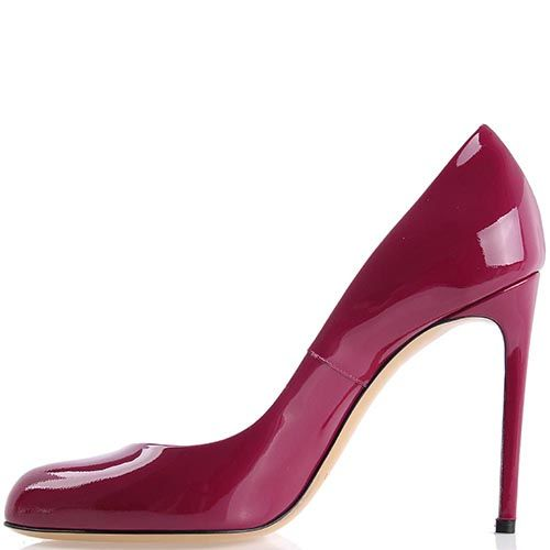 Туфли-лодочки Casadei лаковые ягодного цвета на шпильке, фото