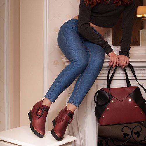 Сникерсы Modus Vivendi из натуральной кожи бордового цвета, фото