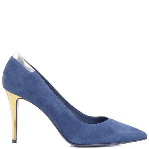 Синие туфли-лодочки Fendi с лаковой вставкой, фото