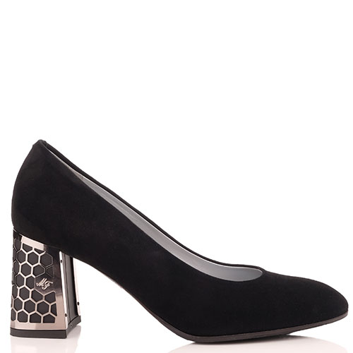 Замшевые туфли  Marino Fabiani с декором на каблуке, фото