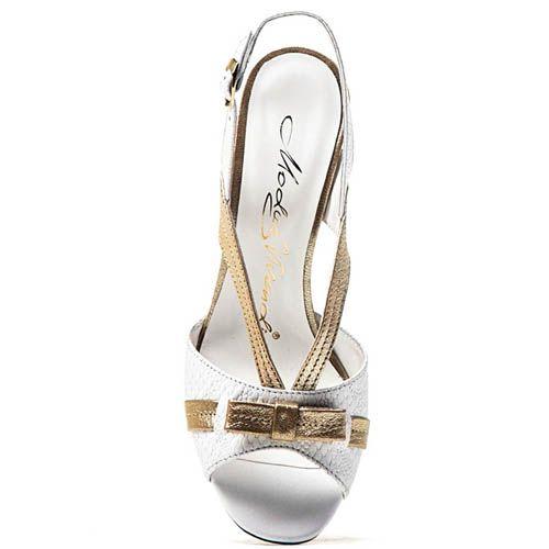 Босоножки Modus Vivendi белые с золотистыми вставками и бантиком, фото