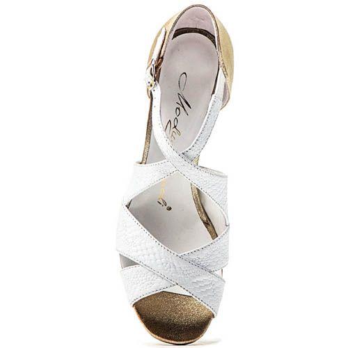 Босоножки Modus Vivendi белые с золотистым каблуком, фото