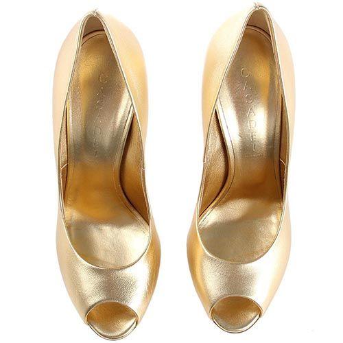 Туфли Casadei золотистые с открытым носочком, фото