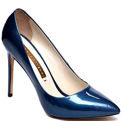 Лодочки синего цвета Modus Vivendi из лаковой кожи, фото