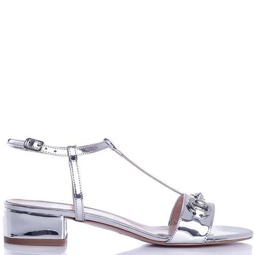 Босоножки Bianca Di серебристого цвета на низком каблуке, фото