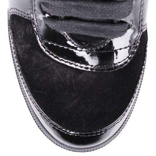 Сникеры Richmond черного цвета замшевые на скрытой танкетке с лаковыми вставками и стразами, фото