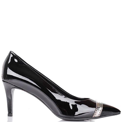 Туфли-лодочки Richmond лаковые черного цвета с золотистой узорной перемычкой на носочке, фото