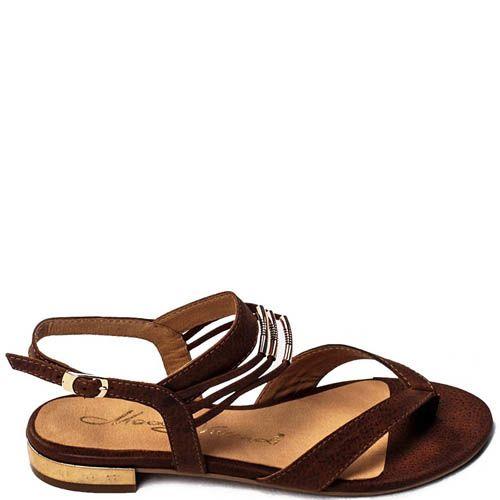 Сандалии Modus Vivendi коричневого цвета с металлическим декором, фото