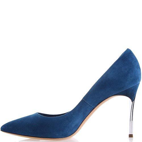 Туфли-лодочки Casadei синего цвета замшевые с металлическим каблуком, фото
