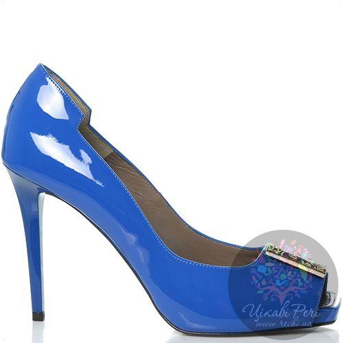 Туфли Versace Collection на шпильке кожаные лаковые синие, фото