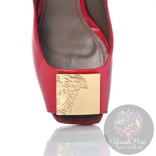 Красные туфли Versace Collection на шпильке кожаные лаковые, фото