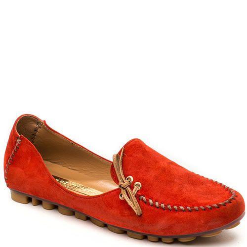 Замшевые мокасины Modus Vivendi ярко-красного цвета на фактурной подошве, фото