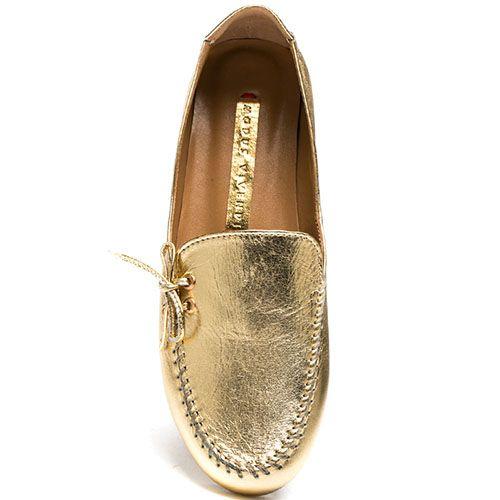 Кожаные мокасины Modus Vivendi золотого цвета на фактурной подошве, фото