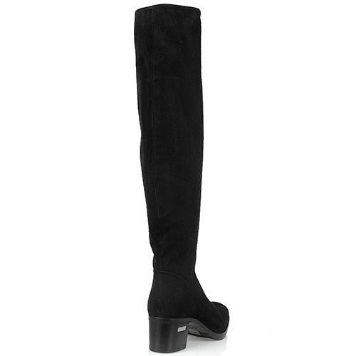 Замшевые ботфорты Loriblu черного цвета на среднем каблуке, фото