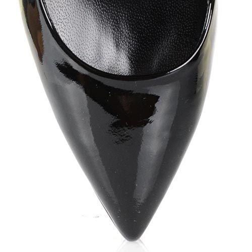 Туфли Loriblu из лаковой кожи серо-бежевого и черного цвета на высоком каблуке и скрытой платформе, фото