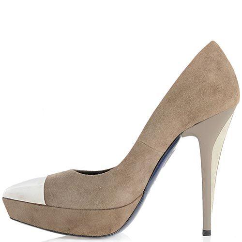 Замшевые туфли Loriblu серо-бежевого цвета на высоком каблуке, фото