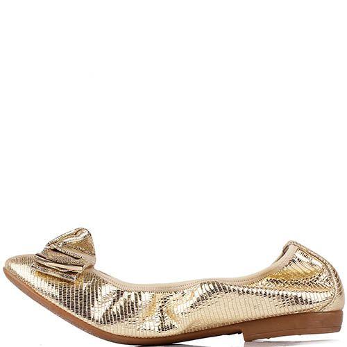 Кожаные балетки Renzi светло-золотого цвета с фактурой под кожу рептилии, фото