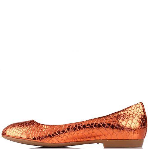 Туфли Renzi из фактурной кожи оранжевого цвета с металлическим блеском, фото
