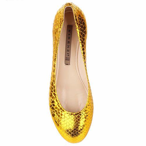 Туфли Renzi из кожи с фактурой под кожу змеи золотого цвета, фото