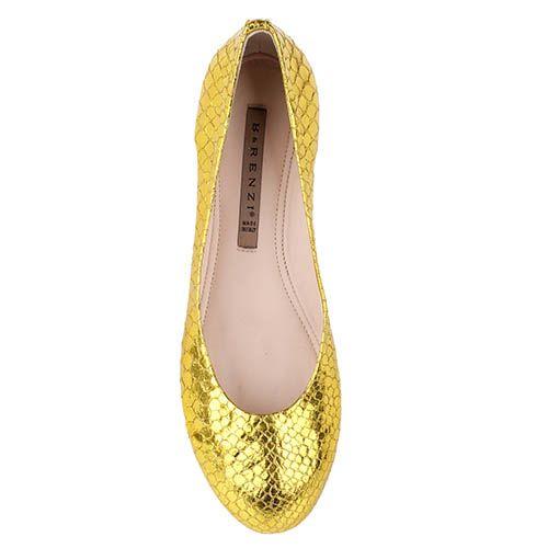Туфли Renzi из кожи с фактурой под кожу змеи светло-золотого цвета, фото