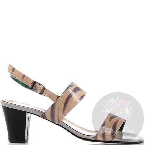 Босоножки Nuovi Artigiani на среднем каблуке серо-бежевые, фото
