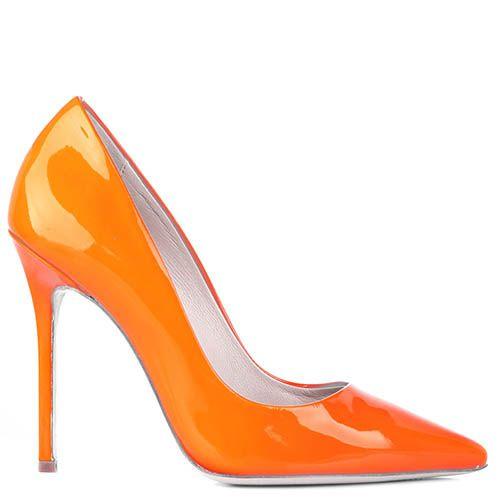 Туфли-лодочки Renzi из лаковой кожи оранжевого цвета, фото