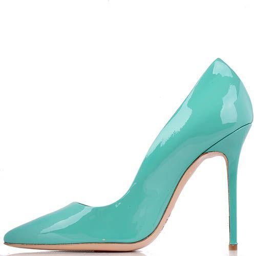 Туфли-лодочки Renzi из лаковой кожи насыщенного бирюзового цвета, фото