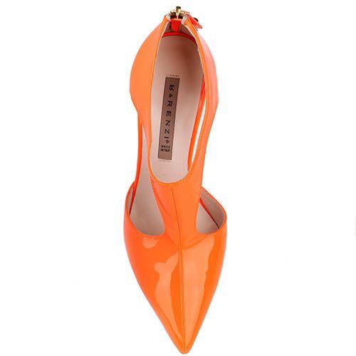 Туфли Renzi из ярко-оранжевой лаковой кожи с открытыми боками, фото