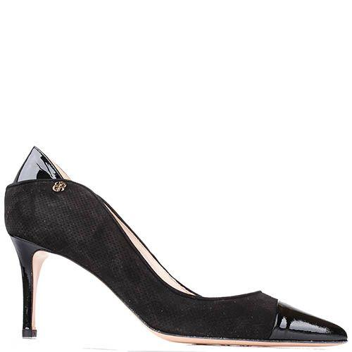 Туфли Renzi из черной замши с вставками из лаковой кожи на среднем каблуке-шпильке, фото