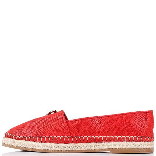 Кожаные туфли-эспадрильи Renzi с тиснением под кожу питона красного цвета, фото