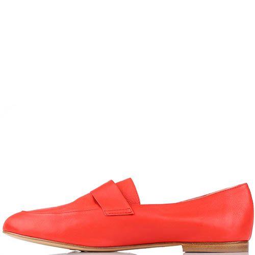 Туфли-лоферы Renzi из натуральной кожи красного цвета, фото