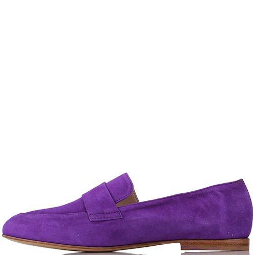Замшевые туфли-лоферы Renzi ярко-фиолетовые, фото
