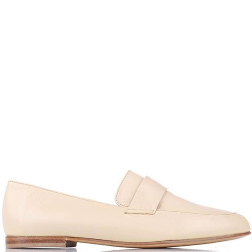 Туфли-лоферы Renzi из кожи бежево-молочного цвета, фото
