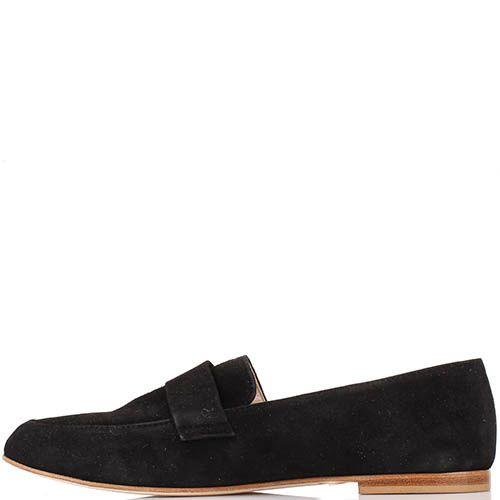 Туфли-лоферы Renzi из натуральной замши угольно-черного цвета, фото