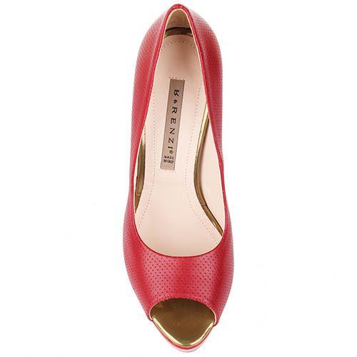 Туфли Renzi с открытым носочком из кожи красного цвета, фото