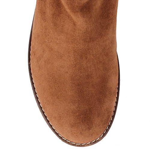 Замшевые ботинки Renzi коричневого цвета с широким голенищем, фото