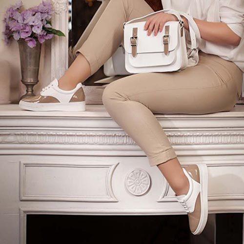 Женские кеды Modus Vivendi из белой и лаковой бежевой натуральной кожи, фото