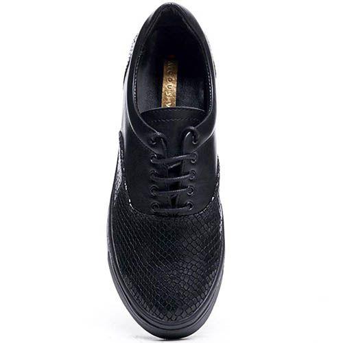 Кожаные кеды черного цвета Modus Vivendi с тиснеными под змею деталями, фото
