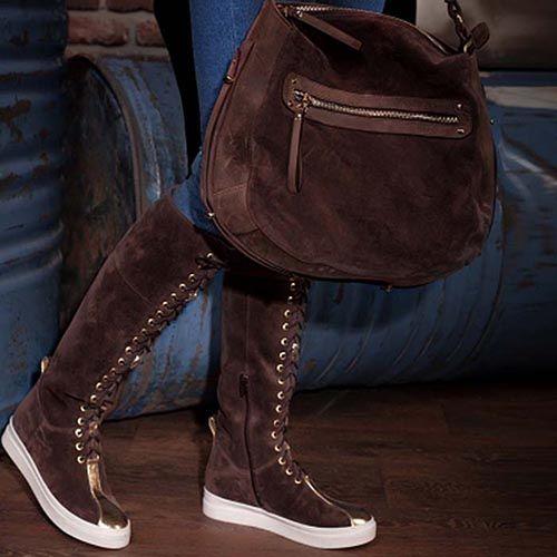 Замшевые сапоги Modus Vivendi кофейного цвета на шнуровке, фото